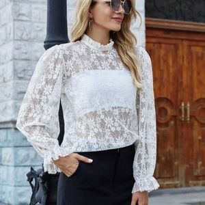 NWOT Ivory Floral Lace Blouse
